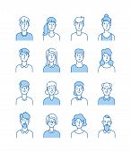 Line Avatars. Happy People Icons User Flat Outline Male Female Avatar Anonymous Faces Man Woman Cute poster