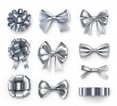 Luxury Silver Gift Bows With Ribbons. Wedding And Anniversary Decor Isolated On White Background. Re poster