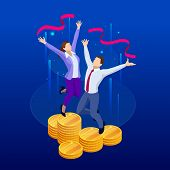 Isometric Profit, Fortune And Success, Successful Investment Concept. Man And Woman Is Glad A Lot Of poster