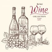 Best Wine Vector Banner Template With Hand Drawn Wine Bottles, Glasses And Grape. Illustration Of Wi poster