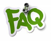 picture of faq  - green FAQ sticker over a white background fixed with a metal thumbtack - JPG