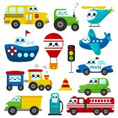 Vector Set Of Kawaii Transportation. Cute Cartoon Cars, Plane, Helicopter, Ship, Train And Hot Air B poster