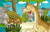 Cartoon Scene With Dinosaur Apatosaurus Diplodocus With Some Other Dinosaur In The Jungle - Illustra poster