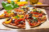 Super Healthy Sliced Vegan Whole Grain Vegetables and Mushrooms Pizza poster