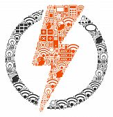 Electricity Collage Icon Done For Bigdata And Computing Purposes. Vector Electricity Mosaics Are Com poster