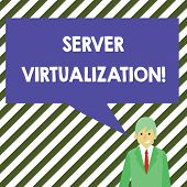 Word Writing Text Server Virtualization. Business Concept For Allow For More Than One Server To Run  poster