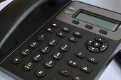 Telephone Set With Display And Buttons. Modern Phone For Ip-telephony. poster