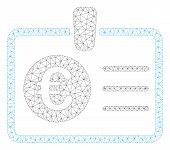 Mesh Euro Access Card Polygonal 2d Illustration. Abstract Mesh Lines And Dots Form Triangular Euro A poster