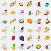 Different Beverage Icons Set. Isometric Style Of 36 Different Beverage Icons For Web For Any Design poster