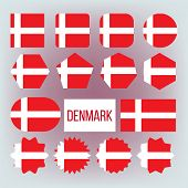 Danish National Colors, Insignia Vector Icons Set. Danish State Flag, European Country Official Symb poster