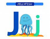 Letter J And Funny Cartoon Jellyfish. Animals Alphabet A-z. Cute Zoo Alphabet In Vector For Kids Lea poster
