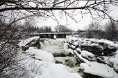 Hog's Back Falls In Ottawa, Canada In Winter