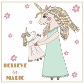 Cartoon Cute Unicorn With Flower For Nursery Print And Other Design poster
