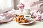 Spring Still Life Scene. Cup Of Coffee, Croissant Pastry, Old Books And Milk Pitcher. Vintage Femini poster