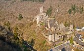 Near The Eifel City Manderscheid Germany Are The Ruins Of Two Castles poster