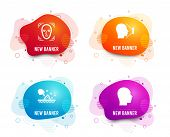 Liquid Badges. Set Of Skin Moisture, Face Id And Face Detection Icons. Head Sign. Wet Cream, Identif poster