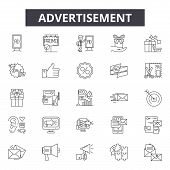 Advertisement Line Icons, Signs Set, Vector. Advertisement Outline Concept, Illustration: Advertisin poster