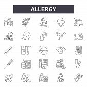 Allergy Line Icons, Signs Set, Vector. Allergy Outline Concept, Illustration: Allergy, Food, Health, poster
