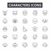 Characters Line Icons, Signs Set, Vector. Characters Outline Concept, Illustration: Person, Characte poster
