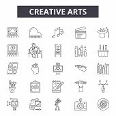 Creative Arts Line Icons, Signs Set, Vector. Creative Arts Outline Concept, Illustration: Art, Degra poster