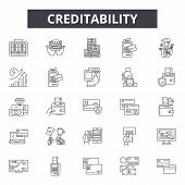 Creditability Line Icons, Signs Set, Vector. Creditability Outline Concept, Illustration: Money, Fin poster