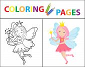Coloring Book Page. Little Fairy Sketch Outline And Color Version. Coloring For Kids. Childrens Educ poster