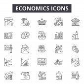 Economics Line Icons, Signs Set, Vector. Economics Outline Concept, Illustration: Finance, Economic, poster