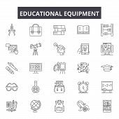 Educational Equipment Line Icons, Signs Set, Vector. Educational Equipment Outline Concept, Illustra poster