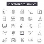 Electronics Line Icons, Signs Set, Vector. Electronics Outline Concept, Illustration: Technology, Co poster