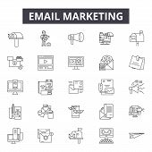 Email Marketing Line Icons, Signs Set, Vector. Email Marketing Outline Concept, Illustration: Email, poster