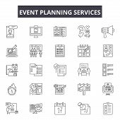 Event Planning Services Line Icons, Signs Set, Vector. Event Planning Services Outline Concept, Illu poster
