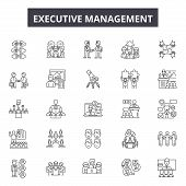 Executive Management Line Icons, Signs Set, Vector. Executive Management Outline Concept, Illustrati poster