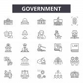 Government Concept Line Icons, Signs Set, Vector. Government Concept Outline Concept, Illustration:  poster