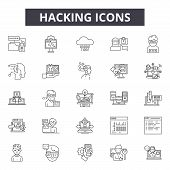 Hacking Line Icons, Signs Set, Vector. Hacking Outline Concept, Illustration: Hacking, Protection, S poster
