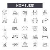 Homeless Line Icons, Signs Set, Vector. Homeless Outline Concept, Illustration: Homeless, People, Po poster