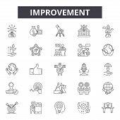 Improvement Line Icons, Signs Set, Vector. Improvement Outline Concept, Illustration: Improvement, G poster