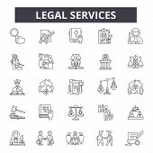 Legal Services Line Icons, Signs Set, Vector. Legal Services Outline Concept, Illustration: Legal, L poster