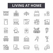 Living At Home Line Icons, Signs Set, Vector. Living At Home Outline Concept, Illustration: Home, Ho poster