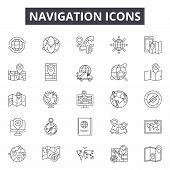 Navigation Line Icons, Signs Set, Vector. Navigation Outline Concept, Illustration: Arrow, Navigatio poster