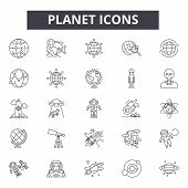 Planet Line Icons, Signs Set, Vector. Planet Outline Concept, Illustration: Planet, Earth, Isolated, poster