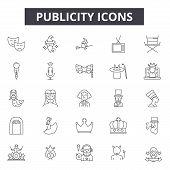 Publicity Line Icons, Signs Set, Vector. Publicity Outline Concept, Illustration: Publicity, Adverti poster