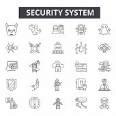 Security System Line Icons, Signs Set, Vector. Security System Outline Concept, Illustration: Securi poster