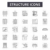 Structure Line Icons, Signs Set, Vector. Structure Outline Concept, Illustration: Structure, Busines poster