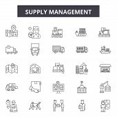 Supply Management Line Icons, Signs Set, Vector. Supply Management Outline Concept, Illustration: Bu poster