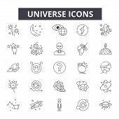 Universe Line Icons, Signs Set, Vector. Universe Outline Concept, Illustration: Space, Universe, Pla poster