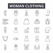 Woman Clothing Line Icons, Signs Set, Vector. Woman Clothing Outline Concept, Illustration: Fashion, poster
