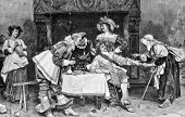 Fortune Teller. Engraving by Geyer and Karmze from picture by painter Vinea. Published in magazine