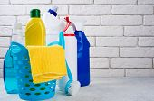Cleaning Background. Basket With Cleaning Products. Cleaning With Supplies, Service And Clean House  poster
