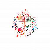 Colorful Music Stand With Music Notes Isolated Vector Illustration Design. Music Background. Music F poster