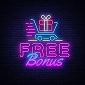 Bonus Neon Sign Vector. Free Bonus Design Template Neon Sign, Light Banner, Neon Signboard, Nightly  poster